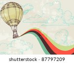 Retro hot air balloon sky background old paper texture. Vintage texture grouped and easy removable