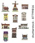 set of vintage buildings | Shutterstock .eps vector #87799816