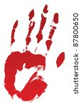 A Bloody Hand Print On White....