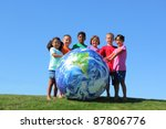 kids with large earth ball  on... | Shutterstock . vector #87806776