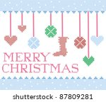 christmas cross stitch design... | Shutterstock .eps vector #87809281