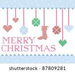 christmas cross stitch design... | Shutterstock .eps vector #87809281