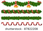 christmas holly garland with... | Shutterstock .eps vector #87822208