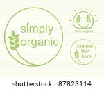 Simply organic vector label, logo or sticker for products in green - 3 varieties - stock photo