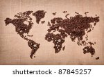 Image of map made of coffee grains with most coffee exporters countries marked on it - stock photo