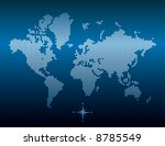 Vector dotted world map. Easy change colors. - stock vector