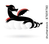 Raster version. Abstract black dragon number two. Illustration on white background for design. - stock photo