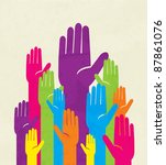 colorful up hand. concept of... | Shutterstock .eps vector #87861076