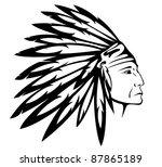 raster   red indian chief... | Shutterstock . vector #87865189