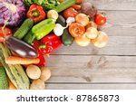 assortment of fresh vegetables... | Shutterstock . vector #87865873