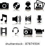multimedia icons   Shutterstock .eps vector #87874504