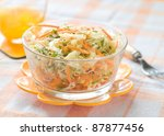 A bowl of cabbage and carrot salad. Selective focus - stock photo