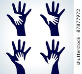 Set Of Two Hands Silhouette....