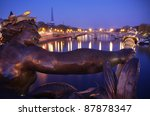 Paris, France: Eiffel tower and Seine River From Alexandre III bridge - stock photo