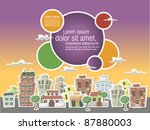 city with buildings and houses | Shutterstock .eps vector #87880003