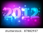 2012 new year card   neon... | Shutterstock .eps vector #87882937