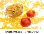 food series  uncooked pasta in... | Shutterstock . vector #87889942