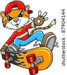 safari tiger skateboarder... | Shutterstock .eps vector #87904144