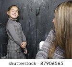 portrait of teacher with pupil... | Shutterstock . vector #87906565