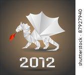 dragon origami.vector.   Shutterstock .eps vector #87927940
