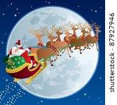 Santa Claus Flying In His...