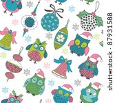 christmas seamless pattern with ... | Shutterstock .eps vector #87931588