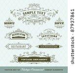 vector set of vintage ornaments | Shutterstock .eps vector #87937861