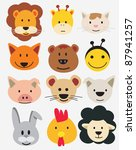 animal,baby shower,bear,cartoon,cat,character,chicken,collection,cute,dog,draw,face,fox,frog,giraffe