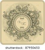 vintage frame pattern and birds ... | Shutterstock .eps vector #87950653