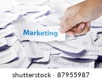 Word marketing in hand, business concept - stock photo