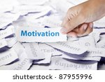 Word motivation in hand, business concept - stock photo