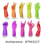 colorful rubber gloves signs...   Shutterstock . vector #87963217