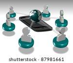 Figurines representing people all connected by mobile phone all around the world / Connection technology - stock photo