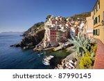 Riomaggiore, Cinque Terre, Italy, fishermen village - stock photo