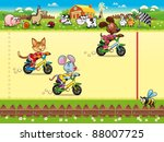 competition in farm. cartoon... | Shutterstock .eps vector #88007725