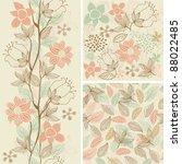 Stock vector seamless flower background set 88022485