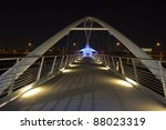Small photo of Blue Lights of the Tempe Town Lake Pedestrian Bridge