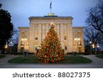 Christmas tree in front of the Capitol in Raleigh, North Carolina - stock photo