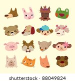 cartoon animal face icons | Shutterstock .eps vector #88049824