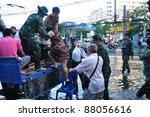 BANGKOK, THAILAND - NOVEMBER 04 : Heavy flooding from monsoon rain in Ayutthaya and north Thailand arriving in Bangkok on November 04,2011 Bangkok, Thailand, At Senanikom 2 Paholyothin Rd. - stock photo