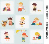 playing children | Shutterstock .eps vector #88061788