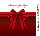 red christmas bow with seasonal ... | Shutterstock .eps vector #88062763