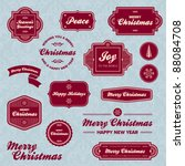 set of vintage christmas... | Shutterstock .eps vector #88084708