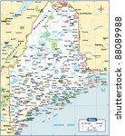maine state map | Shutterstock .eps vector #88089988