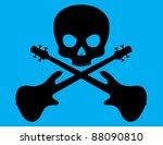 skull and crossed bass guitar...