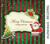 vintage christmas frame with... | Shutterstock .eps vector #88120981