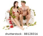 Small photo of kitsch couple adam and eve seduction
