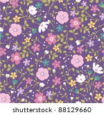 Purple Tiny Floral Seamless...