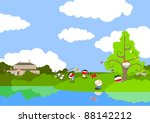 cute kids playing on the lake... | Shutterstock . vector #88142212