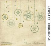 Vintage card with snowflakes - stock vector